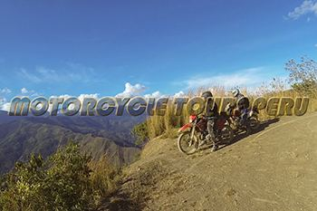 Motorcycle Tour through the Peruvian Andes. High jungle Viewpoint