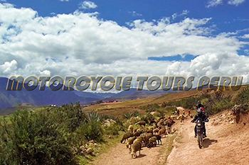Riding through the field in the Sacred Valley along the way to Machu Picchu