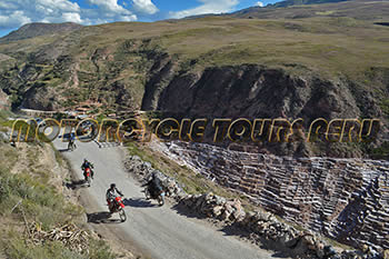 View of the Salt mines of Maras by motorcycle